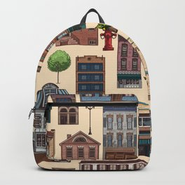 Vintage white brown architecture town pattern Backpack