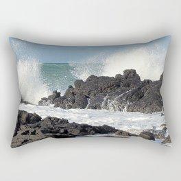 The waves of the Jeju sea crashing on the rocks , Jeju Island, Korea. Rectangular Pillow