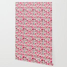 Pink Poppies Seamless Illustration Wallpaper