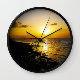 Seashore Serenity at Sunset Wall Clock