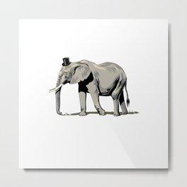 Elephant Wearing Tiny Top Hat Metal Print