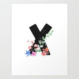 Letter X - Botanical English Alphabet, Name Initial Art Print
