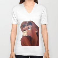 simba V-neck T-shirts featuring Simba by Jgarciat