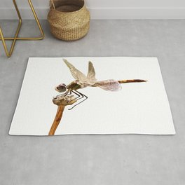 Dragonfly Resting On Seed Head Isolated Rug