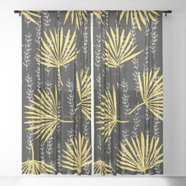 Yellow palm in black Sheer Curtain