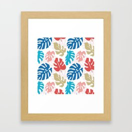 Colorful Monstera Pattern Framed Art Print