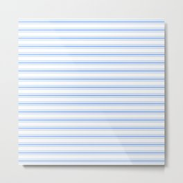 Mattress Ticking Wide Striped Pattern in Pale Blue and White Metal Print