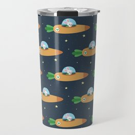 Space bunny and its carrot rocket Travel Mug
