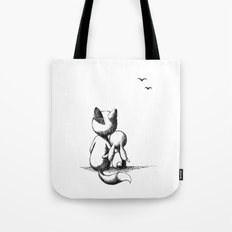 Fox and a rabbit Tote Bag