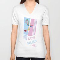 matisse V-neck T-shirts featuring LOVE DISARM ME (MATISSE INSPIRATION) by munfishvisualstudio