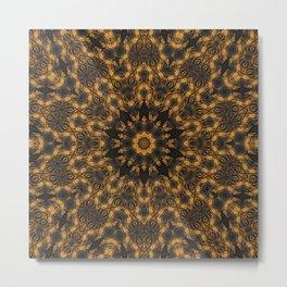 Abstract Kaleidoscope Brown Marble Mandala Metal Print