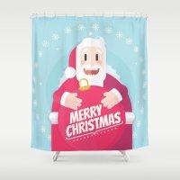 gift card Shower Curtains featuring Santa christmas card - sky by Shirley Mejía