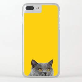 British Short-haired Cat Saffron Yellow Home Decor Pet Lovers Art Grey British Clear iPhone Case
