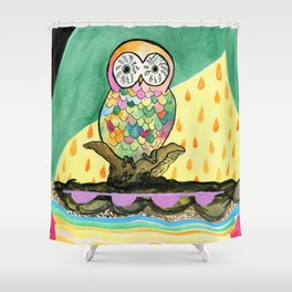 The Jeweled Gumball Owl Shower Curtain