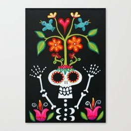Happy Skelly with Tree Canvas Print