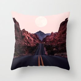 Road Red Moonrise Throw Pillow