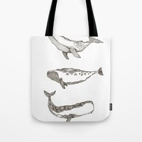 whales Tote Bags featuring Whales by dreamshade