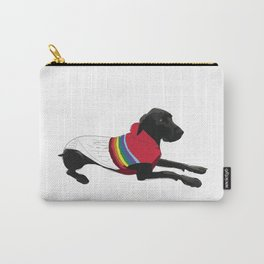 Black Great Dane with a sweater Carry-All Pouch