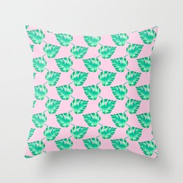Watercolor Monstera Leaves on Pink Throw Pillow