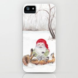The gnome and his friend the fox - Christmas iPhone Case