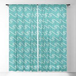 Wave Pattern | Waves | Nautical Patterns | Teal and White | Sheer Curtain