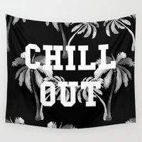 tupac Wall Tapestries featuring Chill Out by Text Guy