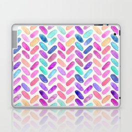 Rainbow Herringbone Watercolor Oblongs Laptop & iPad Skin