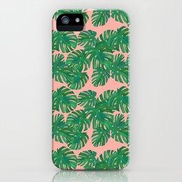 Monstera Stripe on Pink iPhone Case