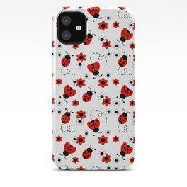Red Ladybug Floral Pattern iPhone Case