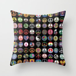 PEACE PATCH COLLECTION (black) Throw Pillow