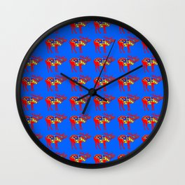 Graphic Elk 01 Swedish Dala Blue Wall Clock