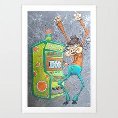 Skinny Pig playing Slot Machine Art Print