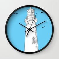 lighthouse Wall Clocks featuring Lighthouse by Janko Illustration