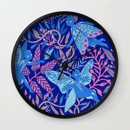 Moth ladies in the night garden Wall Clock