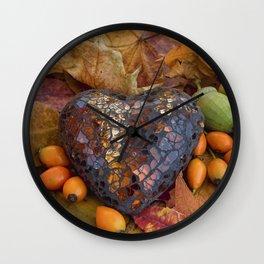 Autumn Still Life With Glass Heart Wall Clock