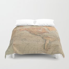 Vintage Map of The World (1870) Duvet Cover