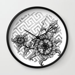 tibetan flowers Wall Clock