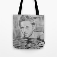 jared leto Tote Bags featuring Jared Leto on water  by Jenn