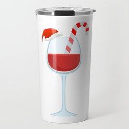 Wine Glass Christmas Candy Cane funny gift Travel Mug