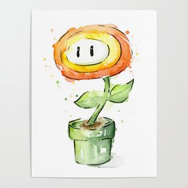 Fireflower Watercolor Painting Poster