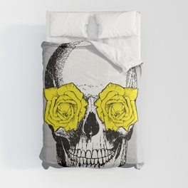 Skull and Roses | Skull and Flowers | Vintage Skull | Grey and Yellow | Comforters