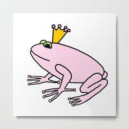 Cute Pink Frog Prince Metal Print