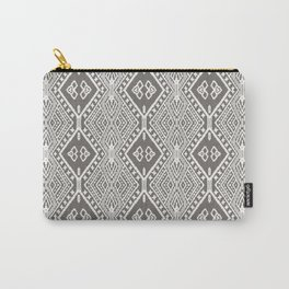 Tribal Diamond Textile Brown Carry-All Pouch