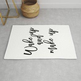 Motivational Print, Wake Up And Makeup, Printable Art, Bathroom Wall Decor, Girls Art, Bedroom Wall Rug
