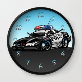 Police Muscle Car Cartoon Illustration Wall Clock