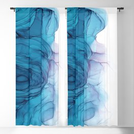 Blue Alcohol Ink Painting Blackout Curtain