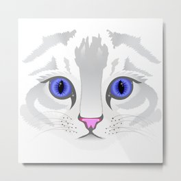 Cute white tabby cat face close up illustration Metal Print