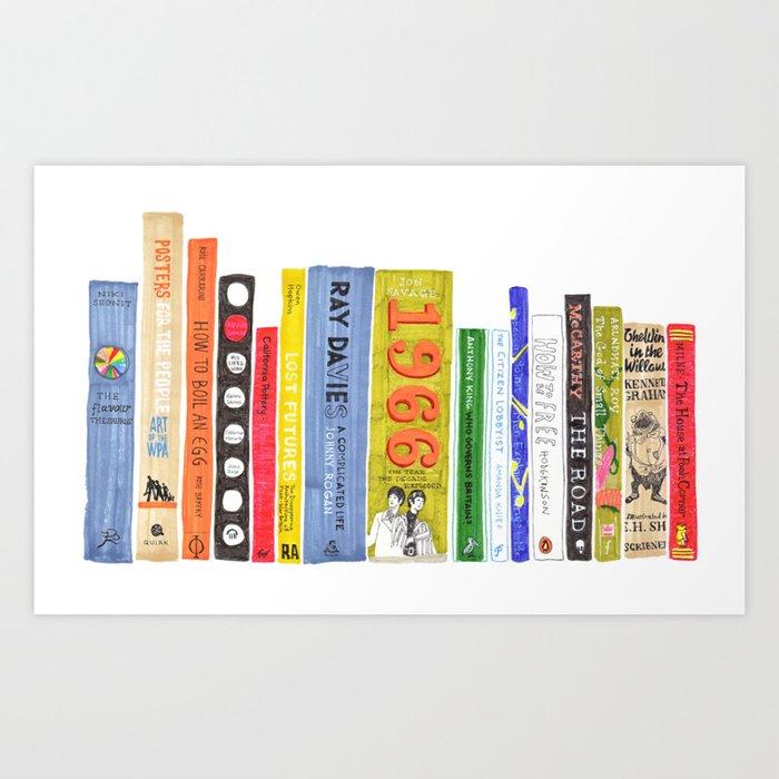 Bookshelf Rainbow Art Print