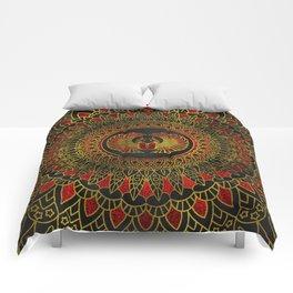 Egyptian Scarab Beetle - Gold and red  metallic Comforters