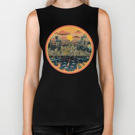 los angeles city skyline Biker Tank